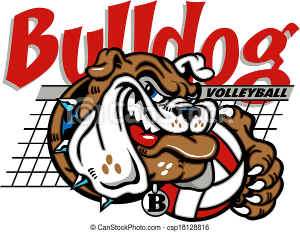 Bulldog Volleyball mit Netz. - csp18128816