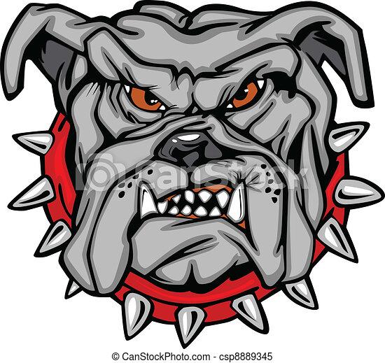bulldogge, vektor, karikatur, gesicht - csp8889345