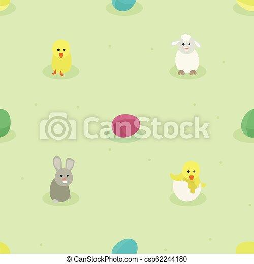 Bunny, Hühnchen, Schafe und Ostereier. - csp62244180
