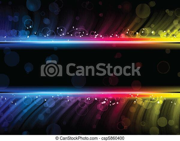 Disco abstrakte, bunte Wellen auf schwarzem Hintergrund - csp5860400
