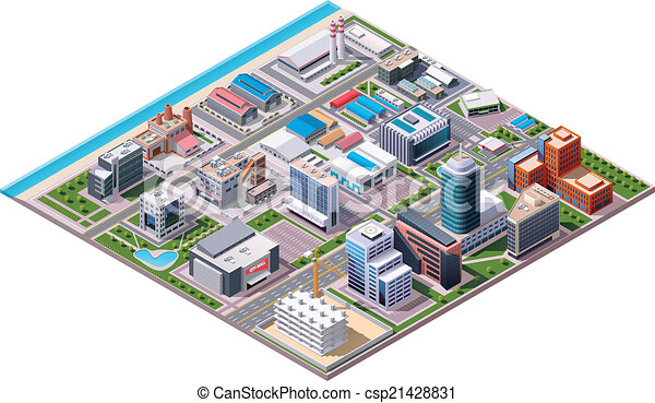 Isometric Industrial and Business C - csp21428831