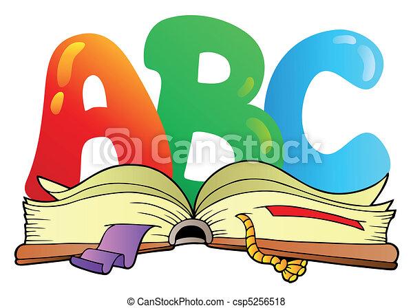 Cartoon ABC-Briefe mit offenem Buch - csp5256518