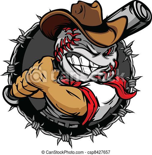 Cartoon-Cowboy-Baseball-Gesicht - csp8427657