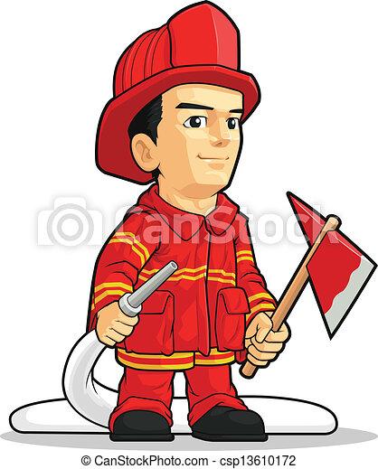 Cartoon des Feuerwehrmanns - csp13610172
