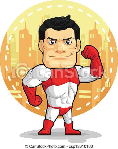Cartoon des Superhelden - csp13610180