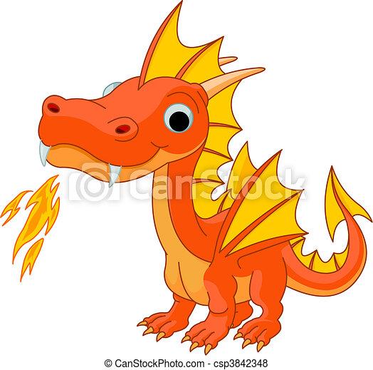 Cartoon Feuerdrache - csp3842348