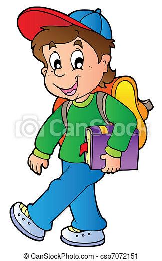 Cartoon-Junge geht zur Schule - csp7072151