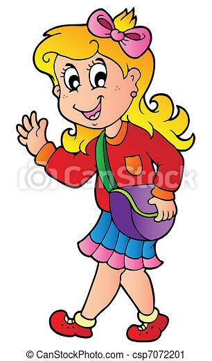 Cartoon-Mädchen geht zur Schule - csp7072201