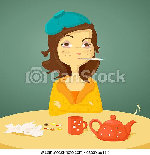 Cartoon-Mädchen mit Krankheit - csp3969117