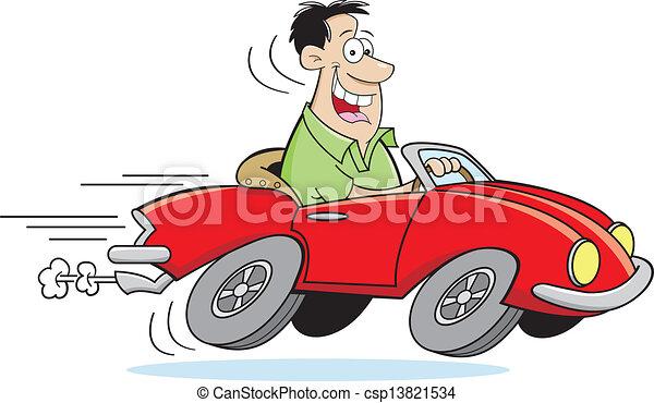 Cartoon-Mann fährt ein Auto - csp13821534