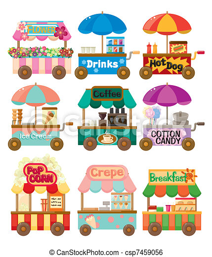 Cartoon Market Store Auto Icon Sammlung. - csp7459056