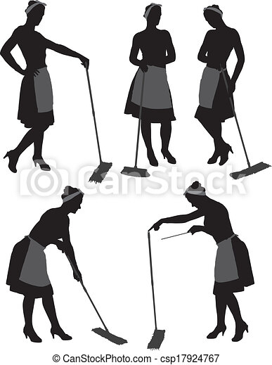 charwoman, silhouette - csp17924767