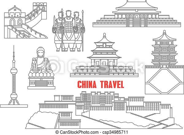 China Wahrzeichen dünne Linien Icons - csp34985711