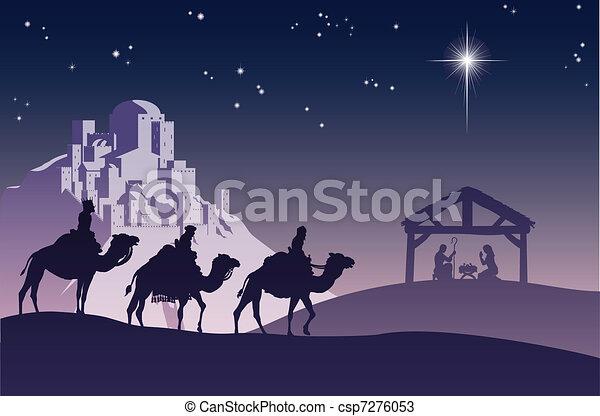 Christliche Weihnachtsfest-Szene - csp7276053