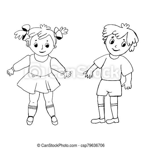 coloring., muster, boy., schwarzes mädchen, bunte, abbildung, weißes - csp79636706