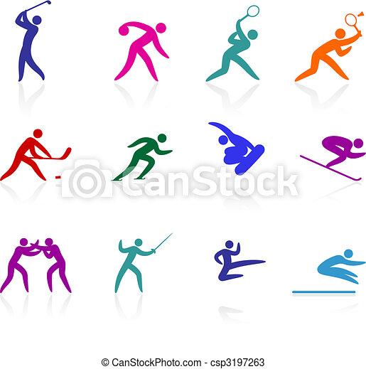 Competative und olympische Sport-Ikon-Sammlung - csp3197263