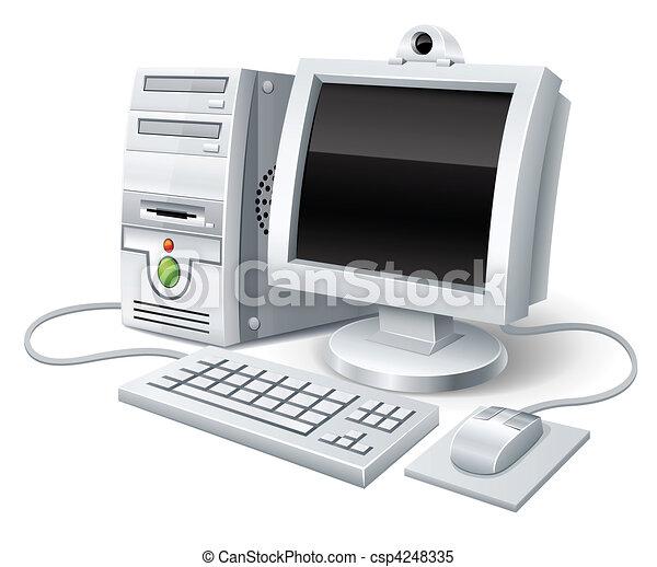 Computer mit Monitor Tastatur und Maus - csp4248335
