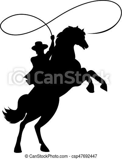 Cowboy Silhouette mit Lasso auf Pferd. - csp47692447