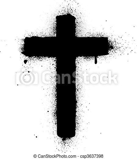 Cross-Spray-Graffiti-Inkvektor schlecht - csp3637398