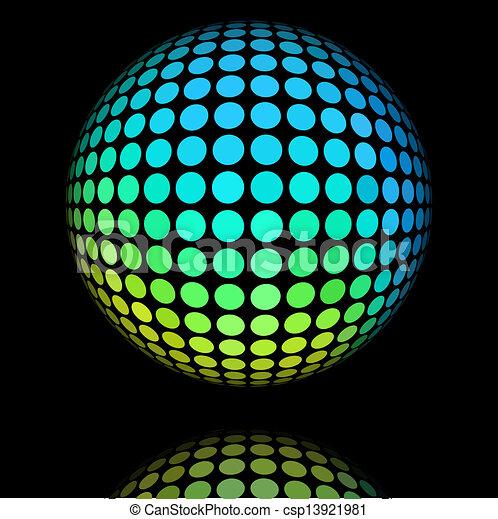 cyan, kreis, ball., gelber , textured - csp13921981