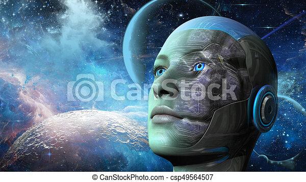 cyborg, frau, -, humanoid - csp49564507