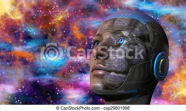 cyborg, frau, -, humanoid - csp29801998
