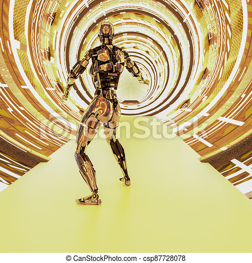 cyborg, metallisch, zukunftsidee, tunnel - csp87728078