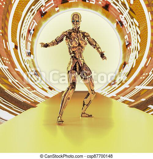 cyborg, metallisch, zukunftsidee, tunnel - csp87700148