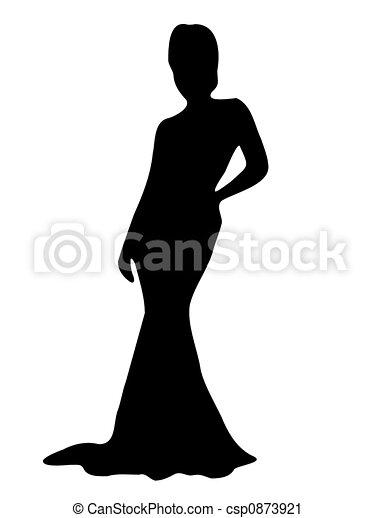 dame, elegant, silhouette - csp0873921