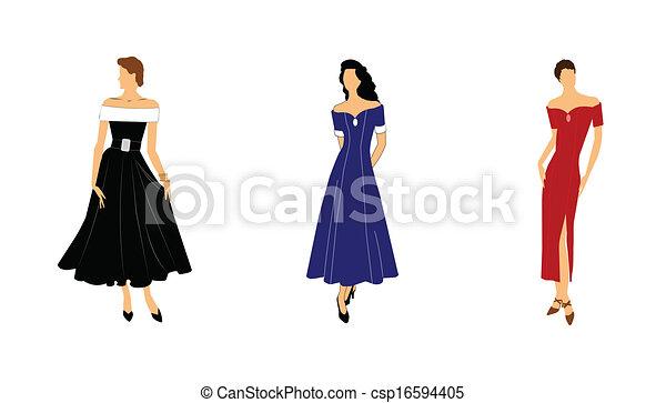 Damen in Kleidern - csp16594405