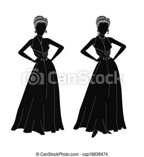 Damen in Silhouette - csp16638474