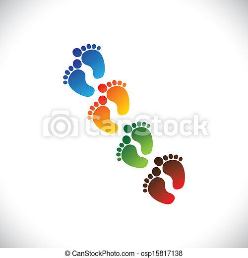 Baby- oder Kleinkindes bunter Fußschritte für den Kindergarten - Vektorgrafik. Diese Illustration kann Spielschule, Kindertagesstätte oder Vorschule von Kindern & Kleinkindern oder Kinderbetreuungseinrichtungen usw. darstellen - csp15817138