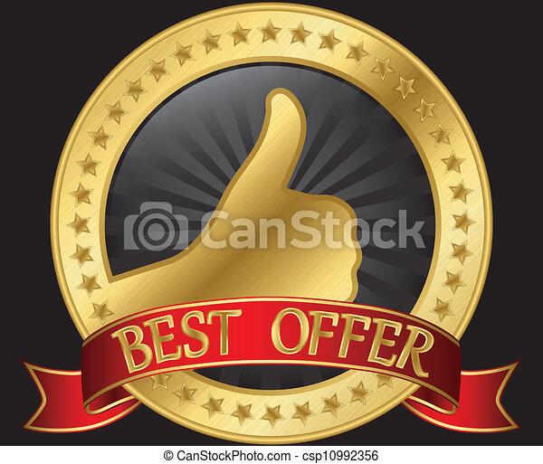 Das beste Angebot mit rotem Daumen - csp10992356