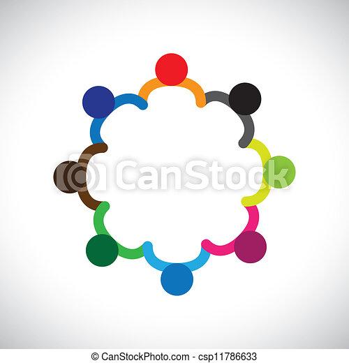 Das Konzept von Kindern, die spielen, Teamwork und Vielfalt. Die Grafik enthält Kinder, die Händchen halten und einen Kreis bilden. Dies kann auch den Begriff des Unternehmensteams und der Teamwork & & peoplevielfalt darstellen - csp11786633