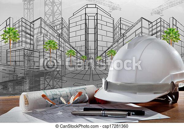Datei von Sicherheitshelm und Architekt geplant auf Holztisch mit Sonnenuntergang Szene und Baukonstruktion. - csp17281360