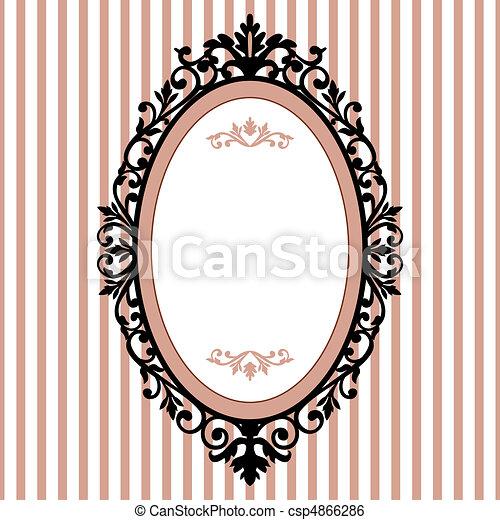 Decorativer ovaler Jahrgangsrahmen - csp4866286