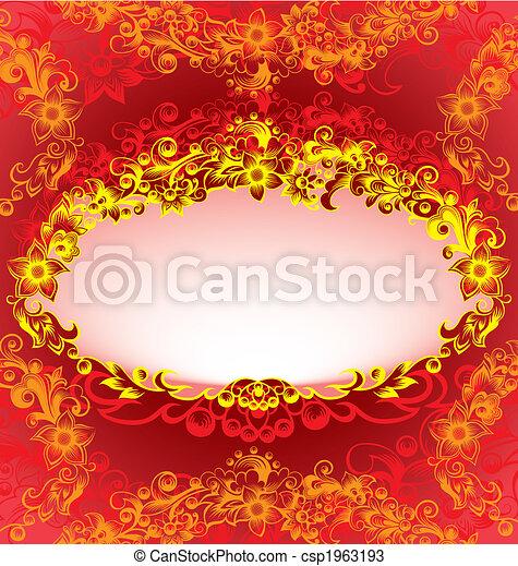Decorativer roter Blumenrahmen - csp1963193