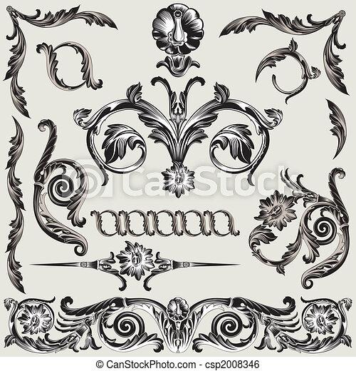 Klassische Blumendekorationselemente - csp2008346