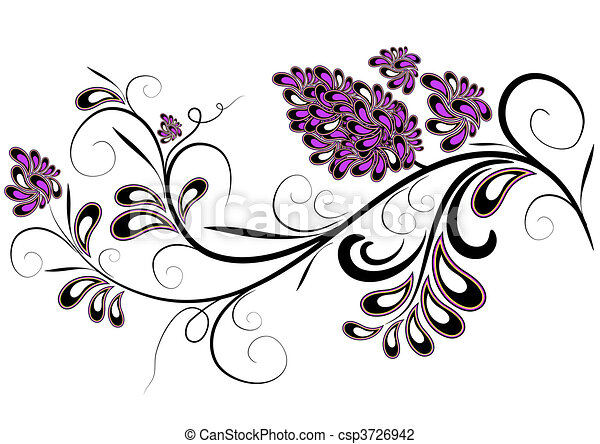 Dekorationszweige mit Fliederblumen - csp3726942