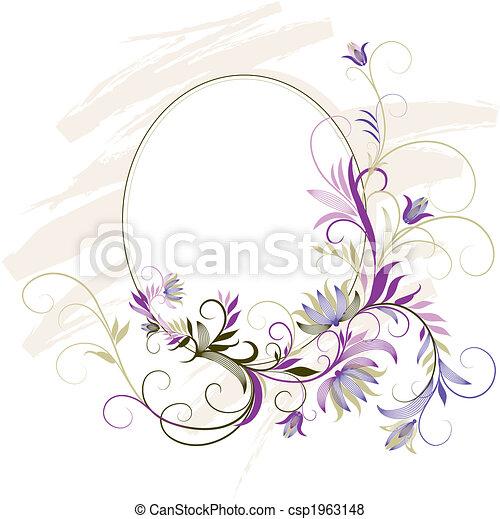 Dekorationsrahmen mit Blumenschmuck - csp1963148