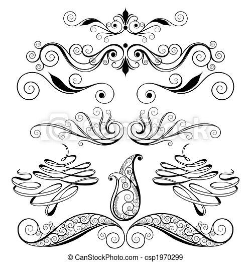 dekorativ, floral elemente, design - csp1970299