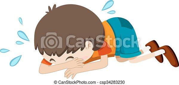 Der Junge weint allein. - csp34283230