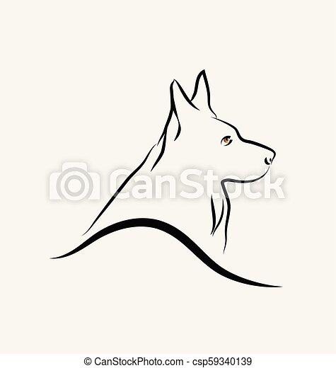 Deutscher Schäferhund, Line Art Vektor. - csp59340139