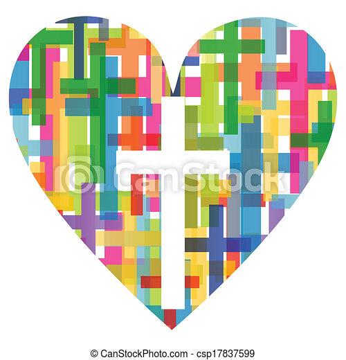 Die christliche Religion kreuzt das mosaische Herzkonzept abstrakter Hintergrundbildvektor für Poster. - csp17837599