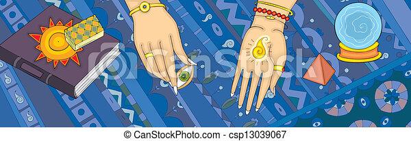 Die Clairvoyance sagt das Hand-Banner der Zukunft - csp13039067