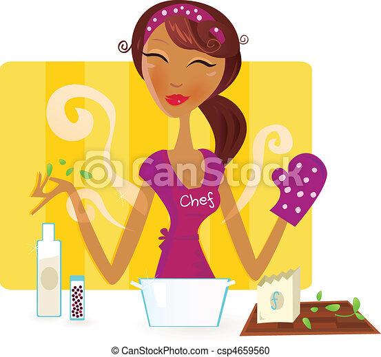 Die Frau kocht in der Küche - csp4659560
