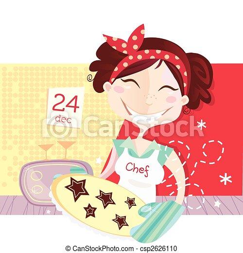 Die Frau macht Weihnachtskekse - csp2626110
