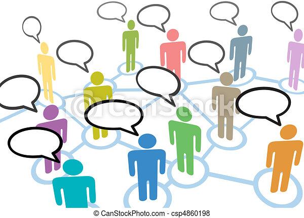 Die Menschen sprechen von Verbindungen zum sozialen Sprachgebrauch - csp4860198