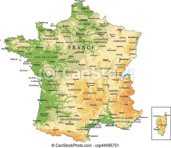 Die physische Karte Frankreichs. - csp44095751