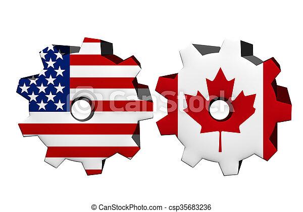 Die Vereinigten Staaten von Amerika und Kanada arbeiten zusammen. - csp35683236